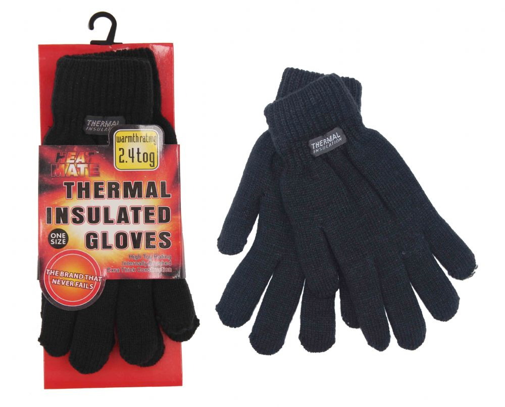 2.4 tog Ladies Thermal knitted One size Black Gloves